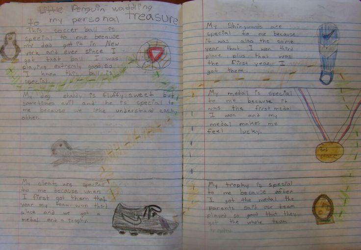 "6th grader Diane's ""Personal Treasure"" page in her notebook, inspired by a passage from ""Boy's Life"" and the picture book ""Old Black Fly.""  Visit the lesson online here: http://corbettharrison.com/Personal-Treasures.html"