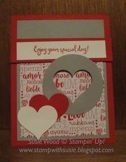 Stampin' Up!- A cool heart card showcasing the new Sending Love Designer Paper Stack!