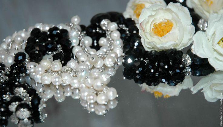 Купить Комплект украшений-Сотуар и серьги из жемчуга - чёрно-белый, комплект украшений, сотуар