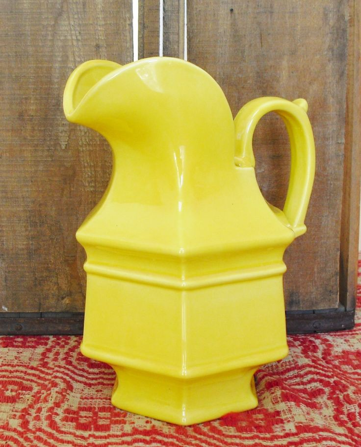 Sold. Haeger Yellow 6 Sided Pitcher Vase, USA 8063, Water Pitcher, Ceramic Pitcher, Farmhouse Vase, Country Flower Vase, Country Decor, MCM by AgsVintageCove on Etsy