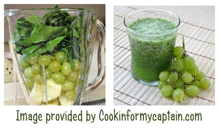 Green Machine Smoothie with Spinach, Grapes      Ingredients: 3 cups frozen green grapes (stems removed) 1 cup baby spinach (packed well) 1 granny smith apple (peeled, cored and chopped) 12 ounces apple juice In a blender, combine all ingredients and process until smooth