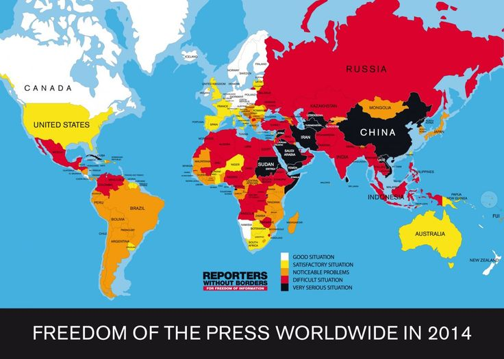 """Reporters Without Borders has published  its 2014 World Press Freedom Index, (freedom of information & journalists in 160 countries). Finland is 1st for the 4th year running, followed by Netherlands & Norway. The US fell 13 places to 46th.The organization describes countries at the bottom of the list, Turkmenistan, North Korea, & Eritrea, as """"news & information black holes & living hells for the journalists who inhabit them."""""""