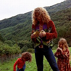 Awesome GIF -  Robert Plant with children, Carmen and Karac