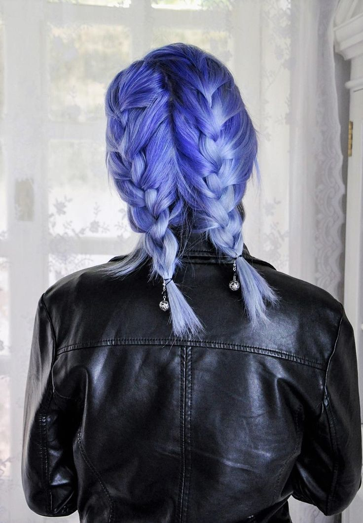 Purplish blue hair with double dutch braid pig tails hairstyle by jessica_dueck