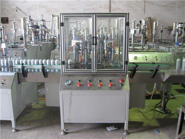 semiautomatic spray aerosol filling machine     More: https://www.aerosolmachinery.com/sale/semiautomatic-spray-aerosol-filling-machine.html