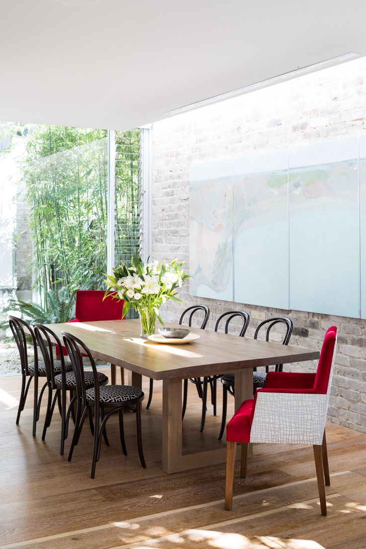 Dining room - Bondi house.  Table MCM House, Thonet chairs, custom artwork. Photography by Phu Tang.