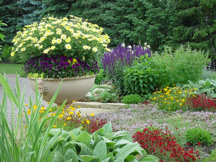 117 best images about spring container planting on for Perennial container garden designs