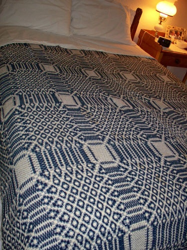 Wonderful Antique Woven Wool Reversible Coverlet Indigo Blue And White Center Seam