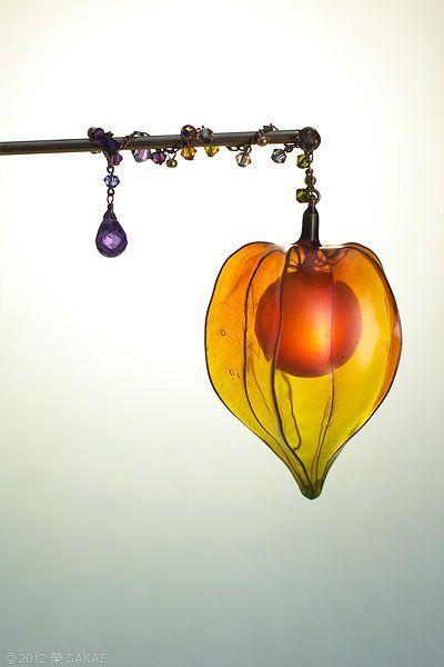 """""""Kanzashi"""" the Japanese ornamental hairpin by Sakae 榮 - Chinese lantern plant"""