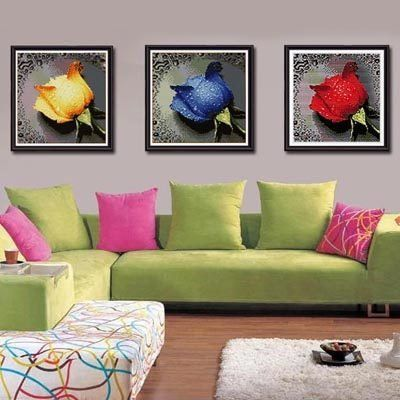 Roses with Dew Drops. Cross Stitch Kit without a stitch. Blue Moon Needlecrafts Diamond Painting DIY Kit.