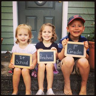 Simple Little Home: First Day of School Pictures with chalkboard slates for grades