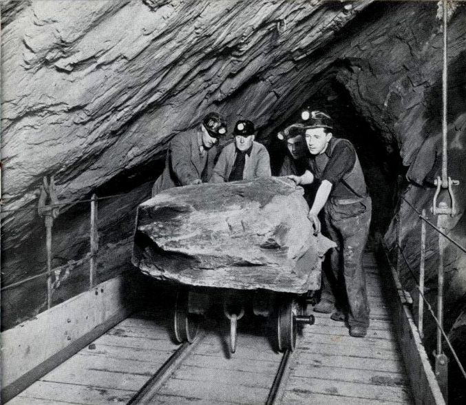 "Miners underground at Oakeley Quarry, Blaenau Ffestiniog, from ""Caban"" staff magazine Nov 1954 and ""AditNow"""