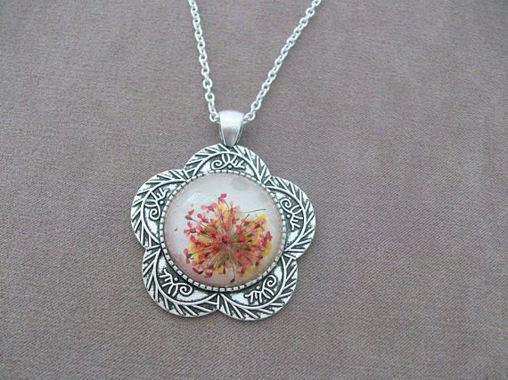 Real Flower Pendant Necklace on silver flower-shaped base, silver-plated chain