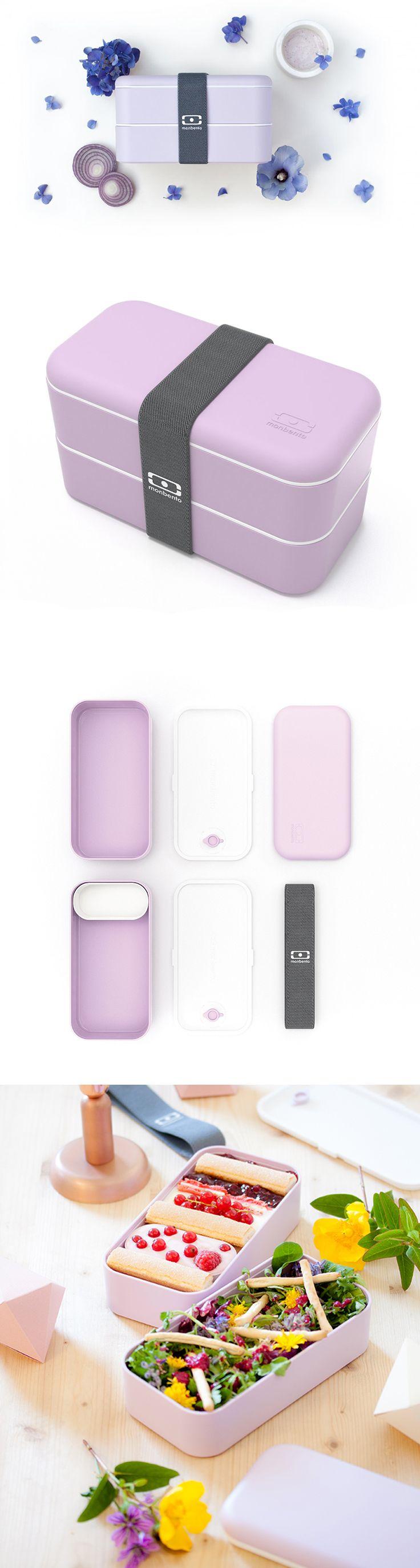 Svačinové boxy jsou vzduchotěsné, každý s vlastním víčkem. Široká elastická páska drží boxy bezpečně u sebe. Moderní design se soft-touch úpravou. Do víčka lze umístit příbor od MonBento. Objem 1000 ml.