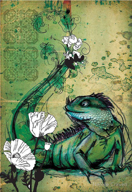 Green Iguana- Mixed Media by Narelle Craven. \u0027 & 13 best Green Iguanas images on Pinterest | Iguanas Green iguana ...