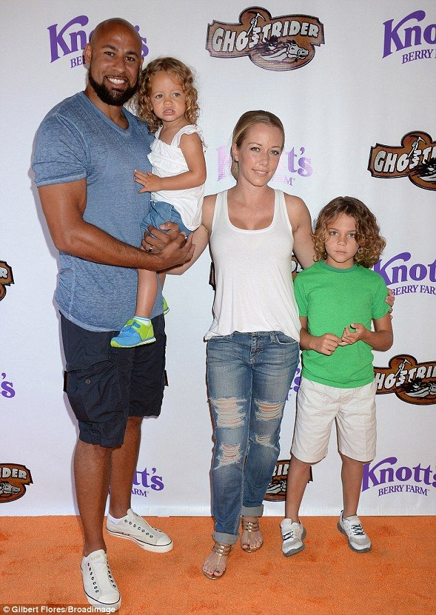 'Soooo excited to be at #Knotts!' Kendra Wilkinson and her husband Hank Baskett treated their children - daughter Alijah, 2, and son Hank Jr., 6 - to Knott's Berry Farm in Buena Park on Saturday