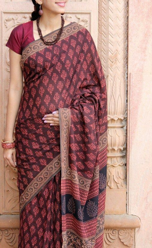 Cotton Saree in Shades Maroon, Red and Brown
