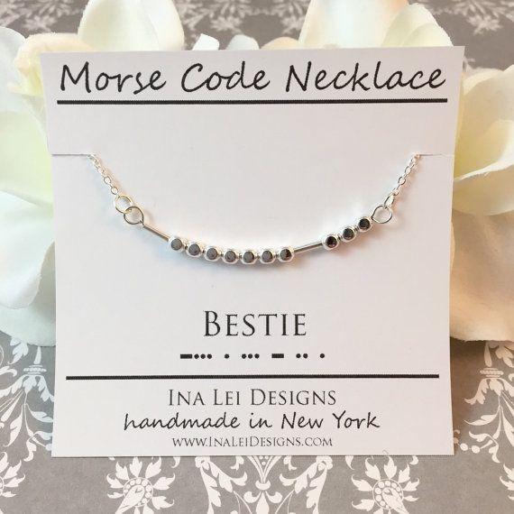 BESTIE Best Friend Morse Code Necklace Friendship by InaLeiDesigns
