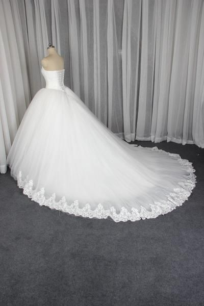 Без бретелек линии Тюль Свадебные платья 2017 года Кружева Пользовательские свадебные платья, Бюджетное бальное платье Свадебные платья, 18004