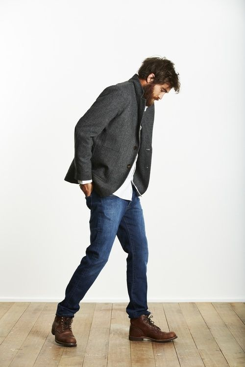 Gray Wool Nehru Style Jacket, Loose Jeans, and Brown Leather Boots. Men's Fall Winter Fashion.