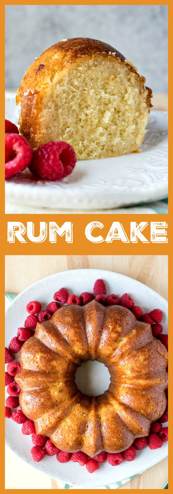 Rum Cake – A delicious bundt cake made from scratch and then soaked with a butter-rum syrup. Not for the faint of heart! #cake #recipe #rum #dessert #bundt