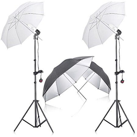 "Neewer® 400W 5500K Photo Studio Continuous Lighting Umbrella Kit with 2 Pieces 33"" Black/Silver Umbrella for Portrait Photography,Studio and Video Shooting"