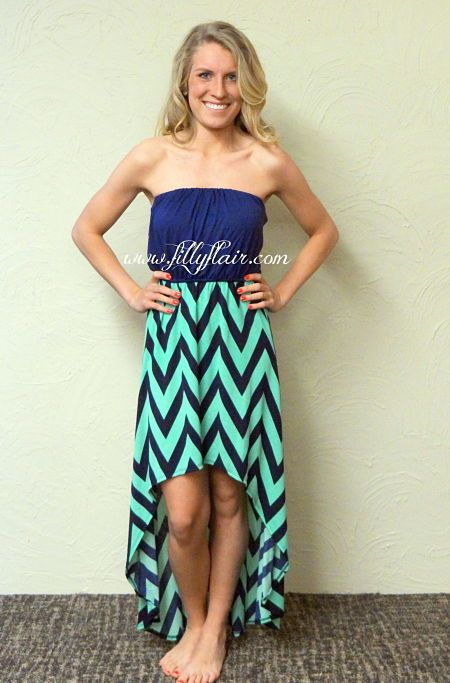 Strapless High-Low Mint and navy chevron dress