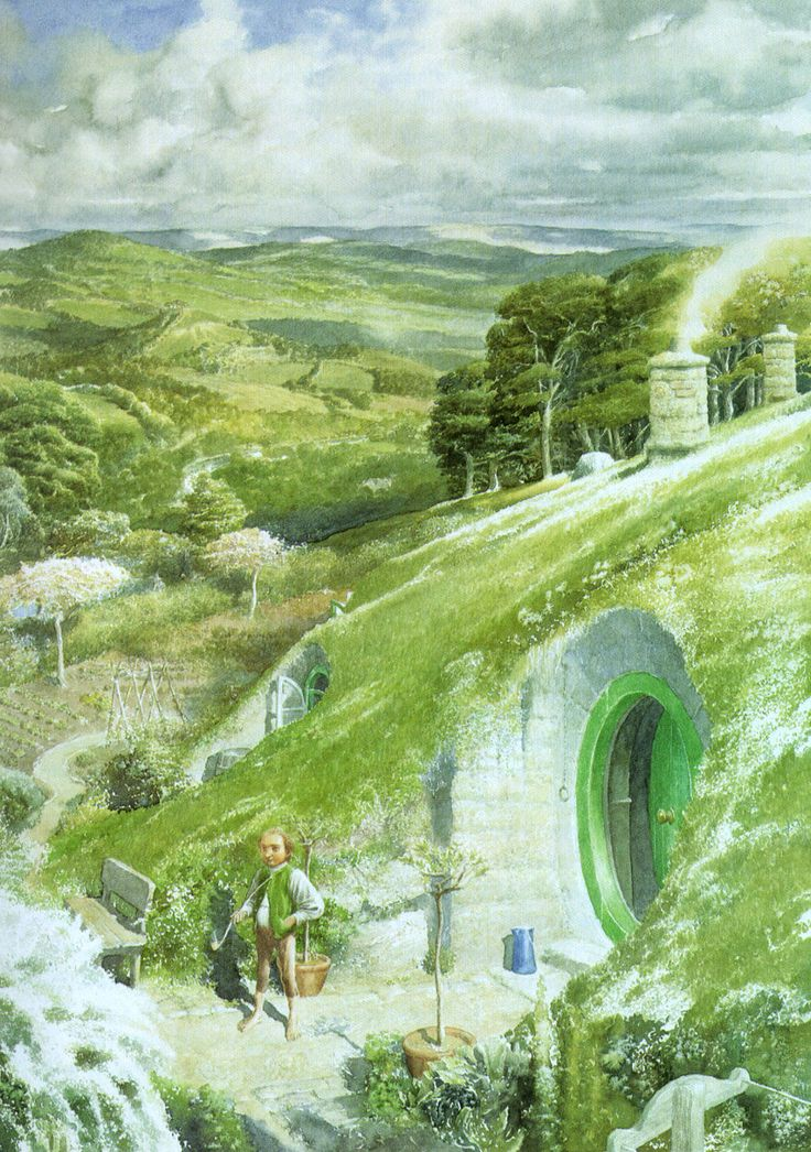 ...one morning long ago, Bilbo was standing at his door... by Alan Lee