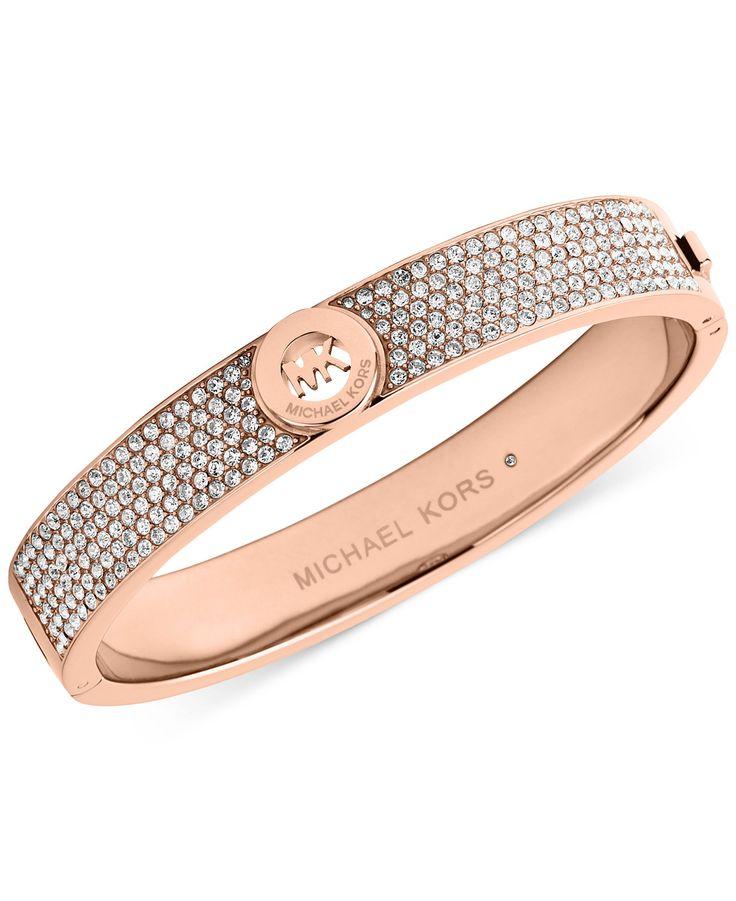 Michael Kors Crystal Pavê Logo Bangle Bracelet - Jewelry & Watches - Macy's