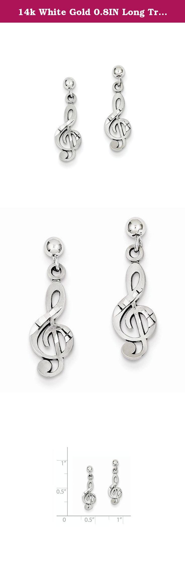 14k White Gold 0.8IN Long Treble Clef Dangle Post Earrings. Length:22mm / Width:6mm / Diamond-cut / 14K White gold / Post / Dangle / Polished & satin.