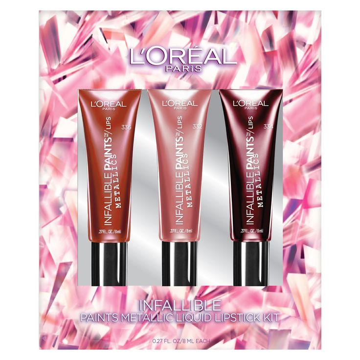 L'Oréal Paris Infallible Paints Metallic Liquid Lipstick Gift Set, Red