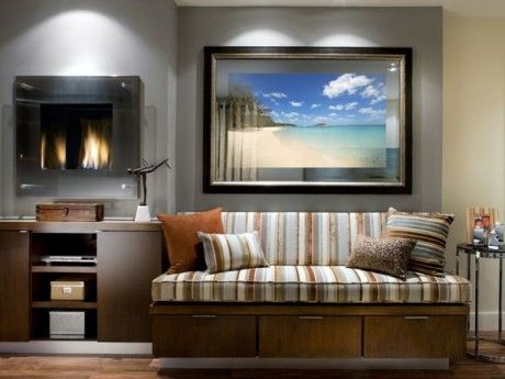 Seura Premier Vanishing Mirror Television in a living room