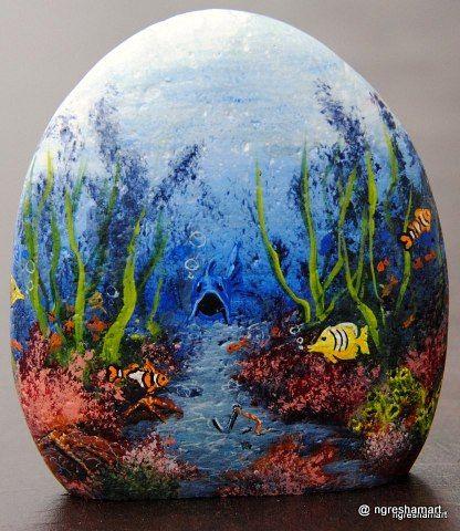 hand painted rocks,fish,aquarium rocks,art
