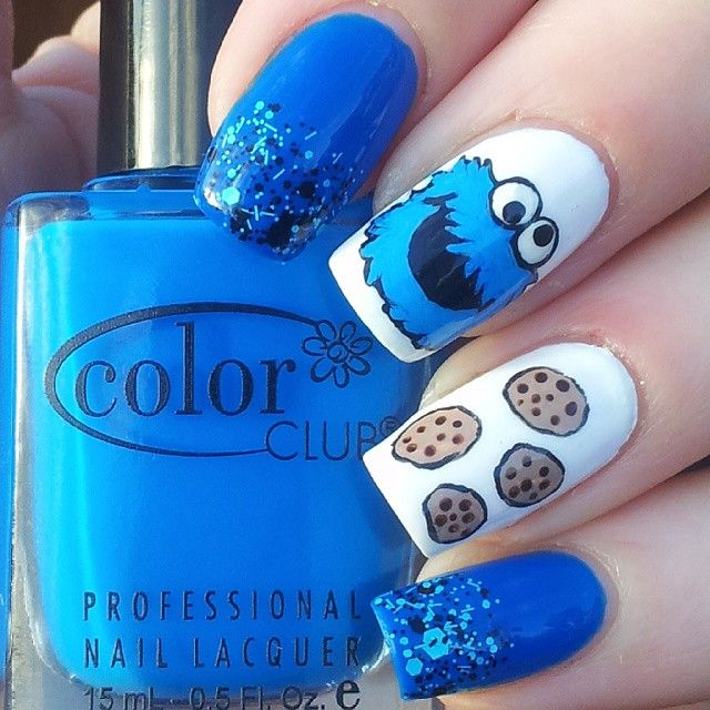 Instagram media by katiescreativenails Coookie monster #nail #nails #nailart
