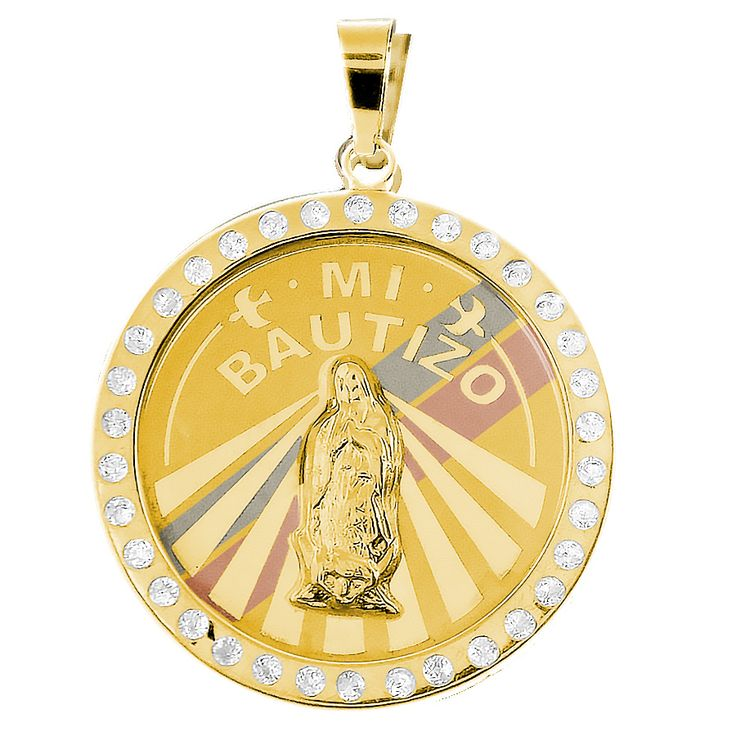 Yellow Gold Baptism Medal with CZ - 14 K - BPT020