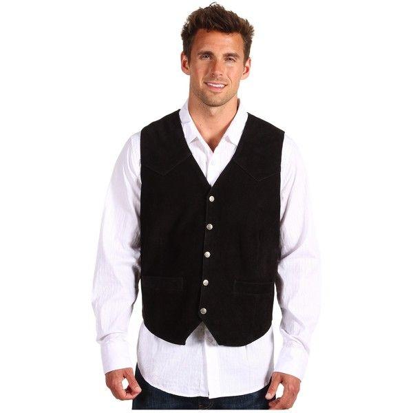 Roper Suede Vest with Front Yokes (Black) Men's Vest ($48) ❤ liked on Polyvore featuring men's fashion, men's clothing, men's outerwear, men's vests, mens pocket vest, mens western vest, mens vest outerwear and mens vest