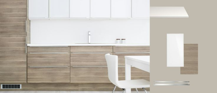Faktum kitchen with sofielund light grey walnut effect doors ...