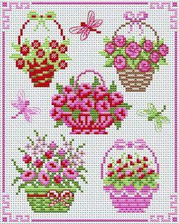 flower basket cross stitch