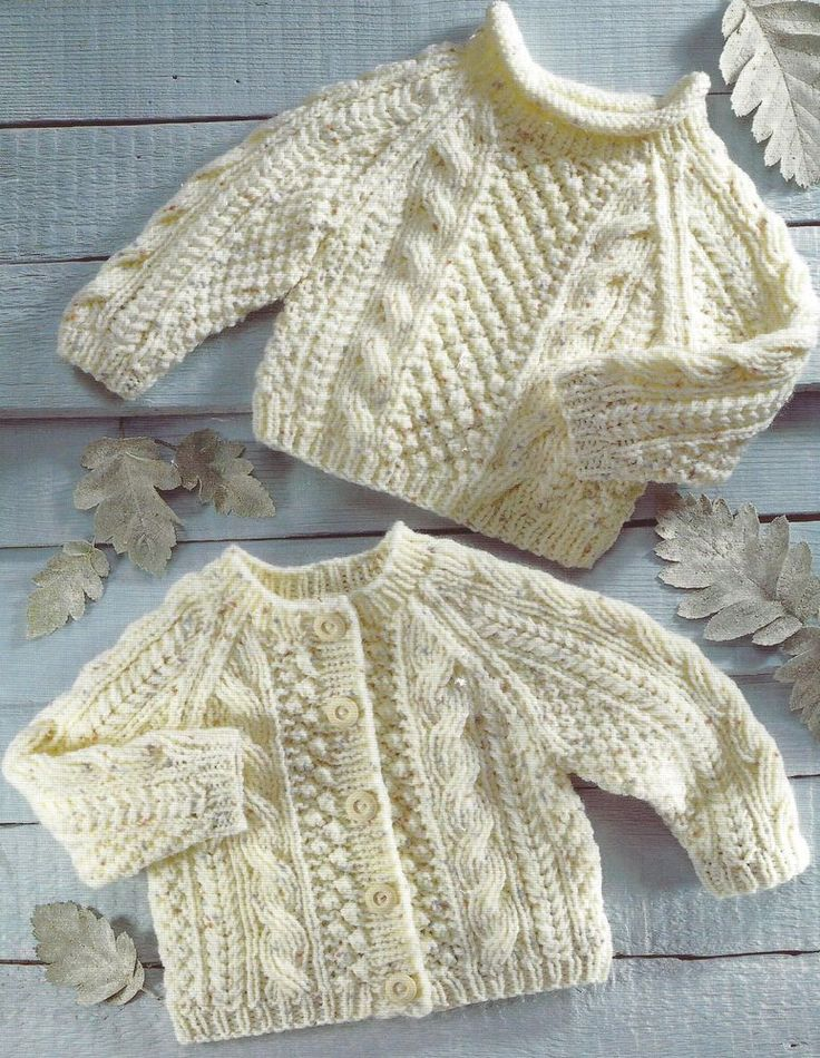 BABY CHILDS 16 TO 26 INCH CHEST ARAN SWEATER & CARDIGAN KNITTING PATTERN (1157) #Unbranded