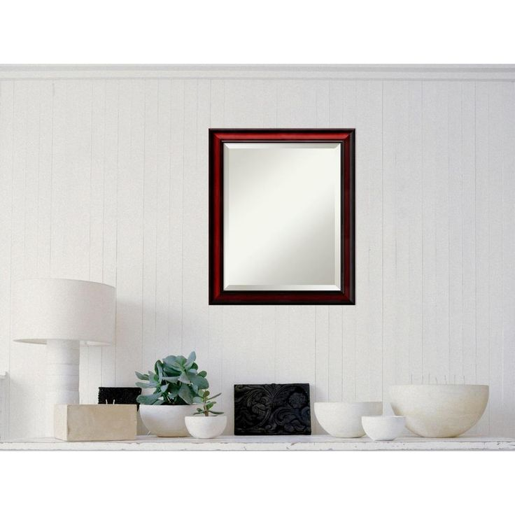 Rubino Cherry Scoop Wood 19 in. x 23 in. Traditional Framed Mirror