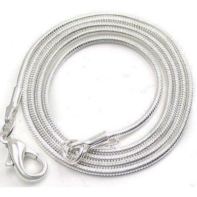 Snake chain 55cm 1mm  Dimensions: length: 55,0cm gauge: 1,00mm Weight ~ 5.05g ( 1 piece ) Metal : silver plated  1 package = 1 piece