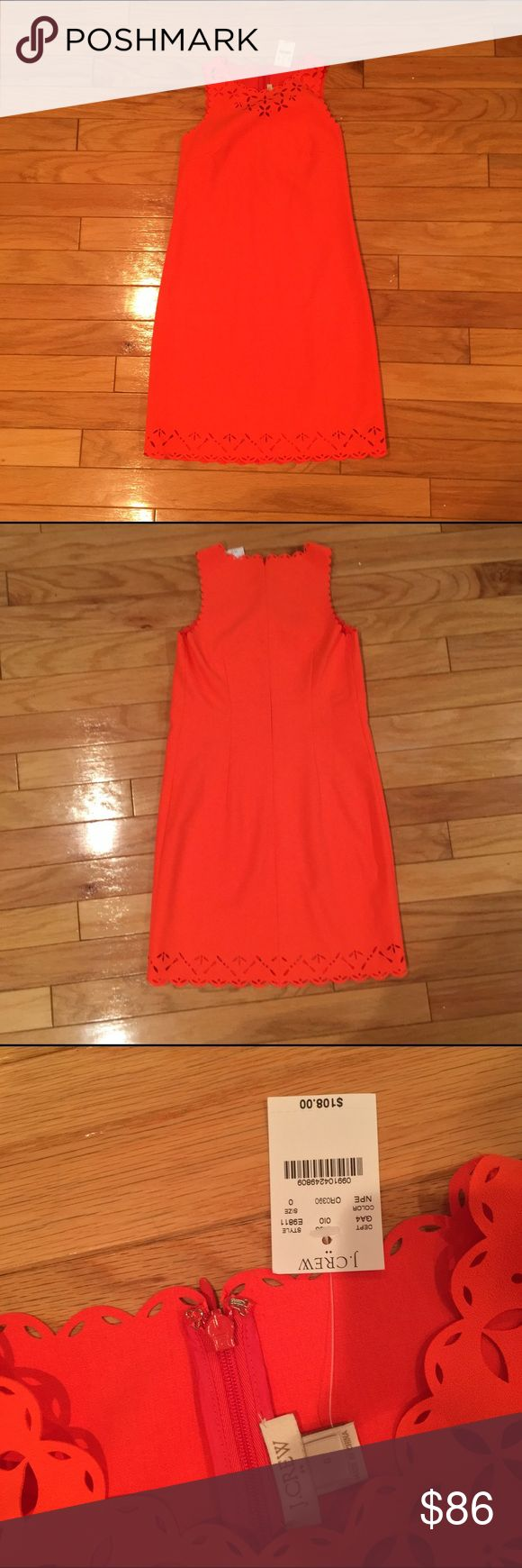 NWT J Crew 0 Coral Laser-Cut Floral Dress NWT J Crew 0 Laser-cut floral dress. Poly/elastane blend, falls to knee, back zip with hook-and-eye closure, lined. Dry clean only. This light dress is perfect for any cocktail party or semi-formal outdoor event! But be careful, this style tends to run a bit big. J. Crew Dresses Mini
