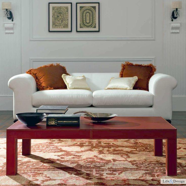 Paride:Tavolino Salotto Rettangolare in Cuoio By Quia | LD Arredamento