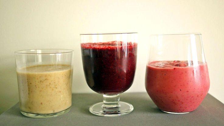 Enten favoritten din er banan, blåbær eller bringebær - Godt gir deg tre smoothies-oppskrifter du vil elske. Perfekt til frokost eller som mellommåltid!