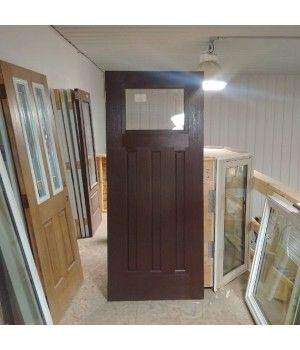 """34"""" x 79"""" Woodgrain Door Slab No Frame  This Woodgrain Fiberglass Door Slab comes with a 22x17 Clear Glass Insert. This Slab is also Pre-Painted Nutmeg Brown!  Need a Frame Too? Call us today to price a frame for this Slab.   Can be shipped within 1 - 2 business days"""