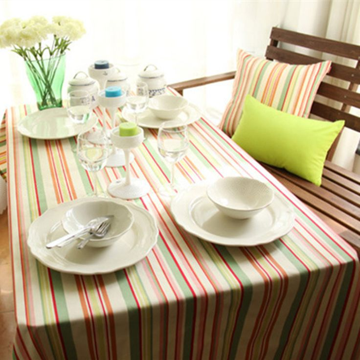 free shipping european classic colored stripe tablecloth rectangular nice for table