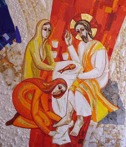 St. Mary and St. Martha washing of the feet of Christ