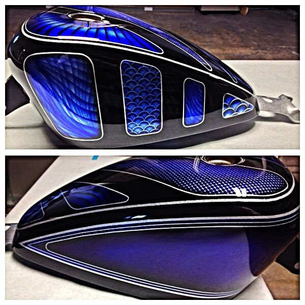 Custom Painted Harley Davidson Sportster Forty Eight Tank Metal Flake Candy Paint Lace Paint