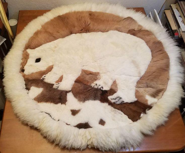 Vintage Polar Bear Alpaca Round Fur Blanket Throw Spread Handmade In Peru Estate #Alpaca #RusticPrimitive