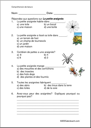 French Reading Comprehension | abcteach